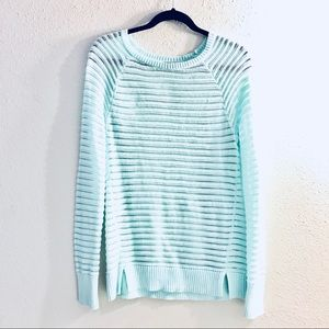 Halogen Mint Green Long Sleeve Translucent Sweater